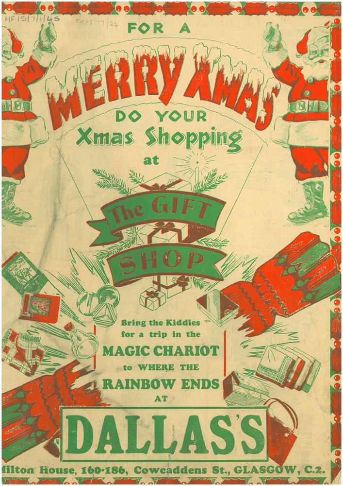 front cover of dallass ltd leaflet advertising christmas gifts