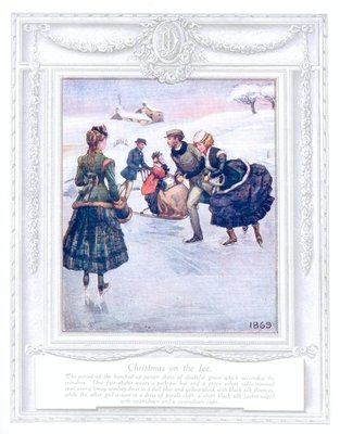 "Page 15 of Dickins & Jones ""Upwards of a Century"" catalogue, printed in 1909, depicting Christmas on the Ice in 1869."
