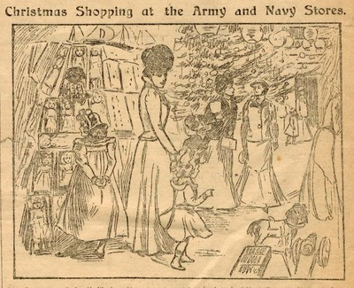 "Illustration from article in Daily Mail, ""Christmas shopping at the Army & Navy Stores"",  1898"