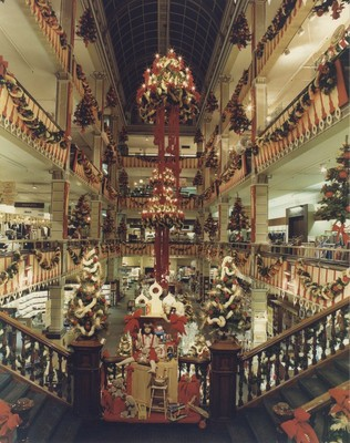 Photograph of the interior of the House of Fraser store in Buchanan Steet, Glasgow, decorated for Christmas, 1981.