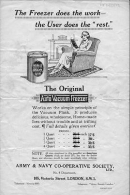 Advertisement for auto vacuum freezer (for making ice cream), 1924