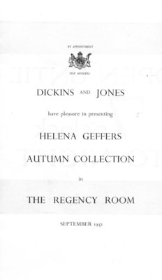 Cover of programme for Helena Geffers fashion show held at Dickins and Jones in September 1951.