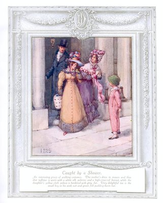 'Caught by a shower' (1829). 'Upwards of a Century'. Dickins and Jones catalogue illustrating 100 years of fashion, 1909.