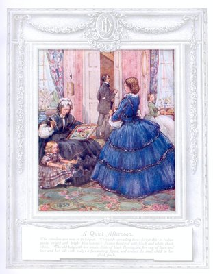 'A quiet afternoon' (1859). 'Upwards of a Century'. Dickins and Jones catalogue illustrating 100 years of fashion, 1909.