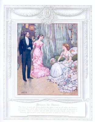 'Between the dances' (1879). 'Upwards of a Century'. Dickins and Jones catalogue illustrating 100 years of fashion, 1909.