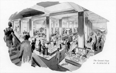 Drawing of John Barker & Co store interior 1952.